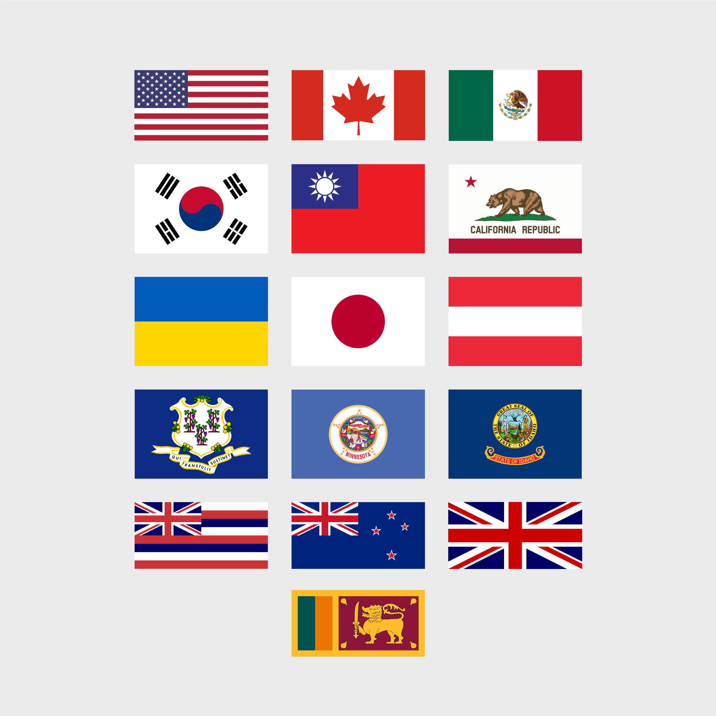 National flags of our designers