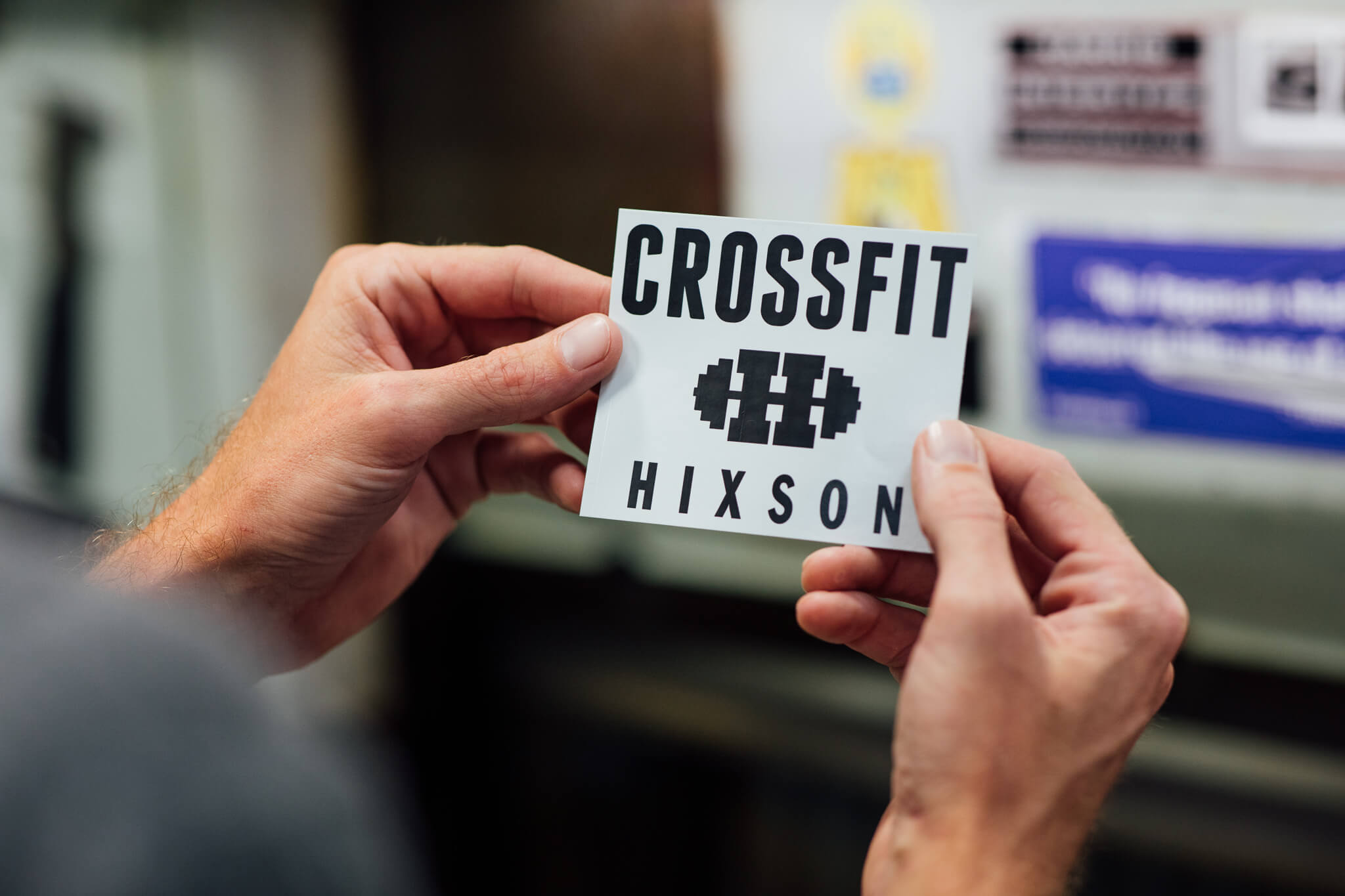 A close up of a cut Crossfit Hixson decal