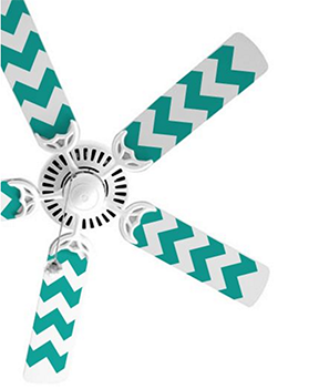 Decal of a chevron pattern on a ceiling fan.