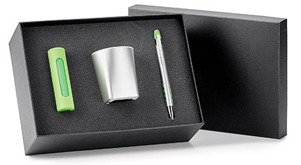 A box set with a power bank, a wireless speaker, and a ballpoint pen.