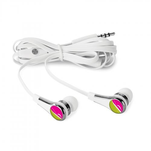Ear buds with a brand printed on the opposite end of the buds.