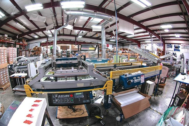 Interior wide angle shot of the GoDecals warehouse.