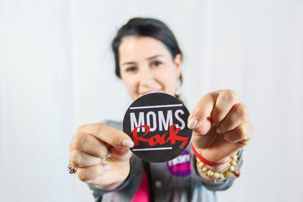 "Custom sticker printer for Calvary Chapel's Mother's Day celebration that says ""Moms Rock"""