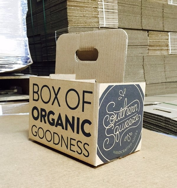 Custom printed box - a drink carrier - for Southern Sqweeze.