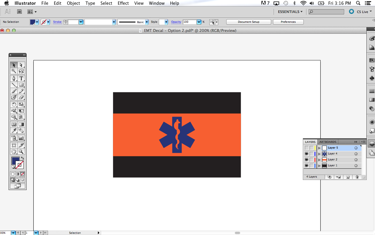Decal Layer 3 - the first half of the logo has been added.