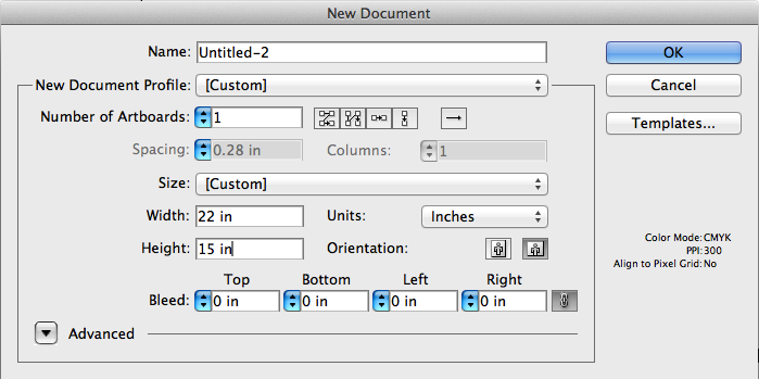 A screenshot of setting up a design file's dimensions