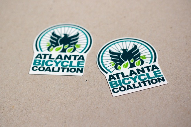 A die cut sticker for Atlanta Bicycle Coalition