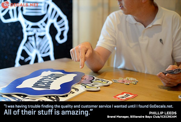 "Pictured is Phillip Leeds, brand manager for Billionaire Boys Club. His testimonial reads, ""I was having trouble finding the quality and customer service I wanted until I found GoDecals. All of their stuff is amazing."""