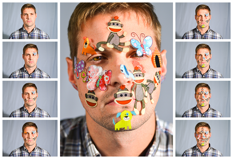 Photo grid of a man putting stickers on his face.