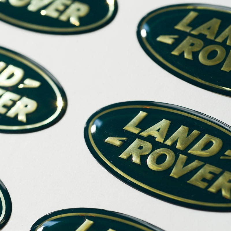 Domed decals featuring Land Rover