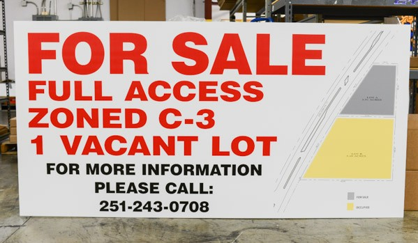 Medium shot of a large format sign advertising a vacant lot for sale
