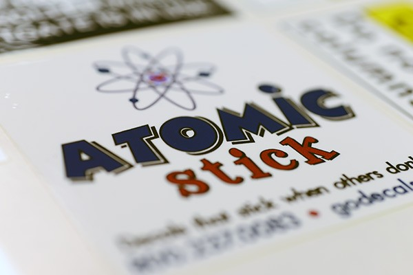 Close-up of an atomic stick decal adhesive