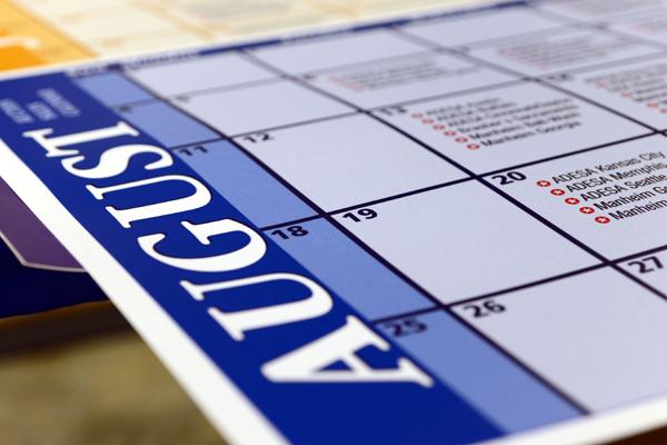 Close-up of a vinyl poster calendar