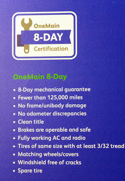 Medium Shot of a poster for OneMain 8-day certification