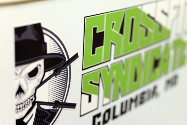 Close up of a logo sticker for crossfit syndicate