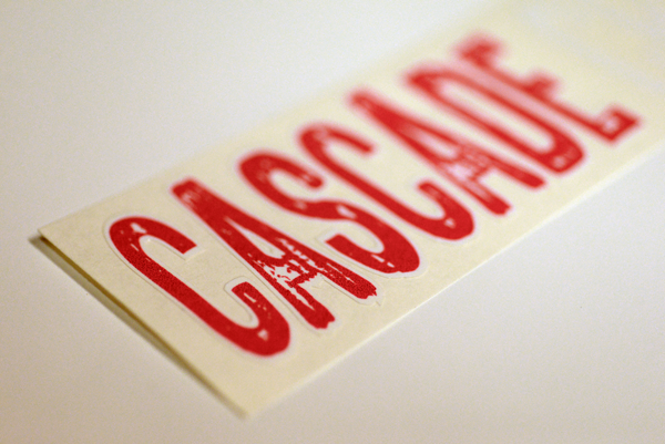 Close-up of a logo sticker for cascade