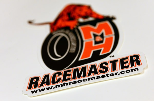 Close-up of a die cut decal for racemaster