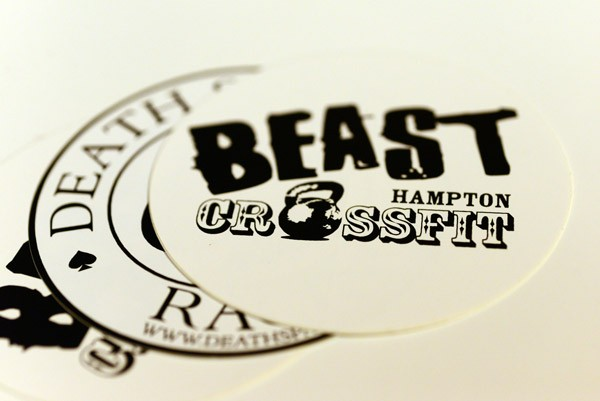 Close-up of vinyl devals printed for beast hampton crossfit