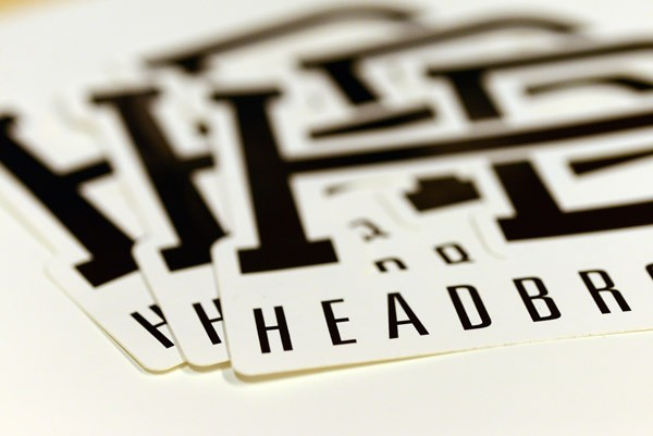 Close-up of die cut decals made for headboard