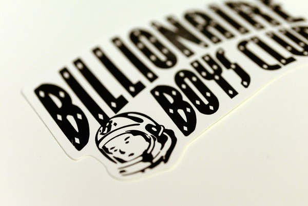 Close-up of die cut decals printed for the billionaire boys club