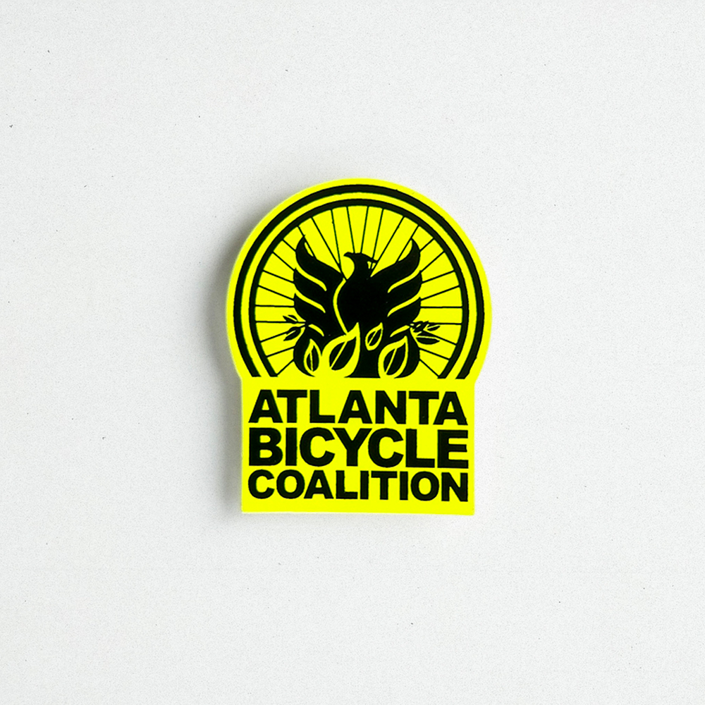 Prodcuct shot of a custom made die cut decal for Atlanta Bicycle Coalition