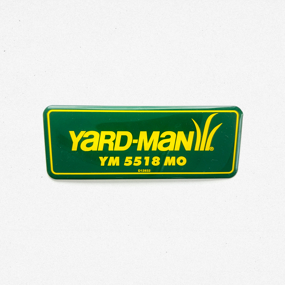 Domed decal product photo with Yard-Man logo displayed.