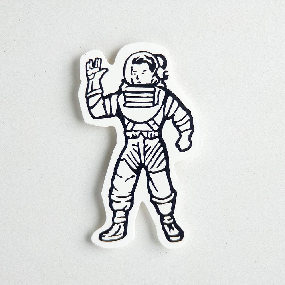 Die cut vinyl decal of an astronaut waving.