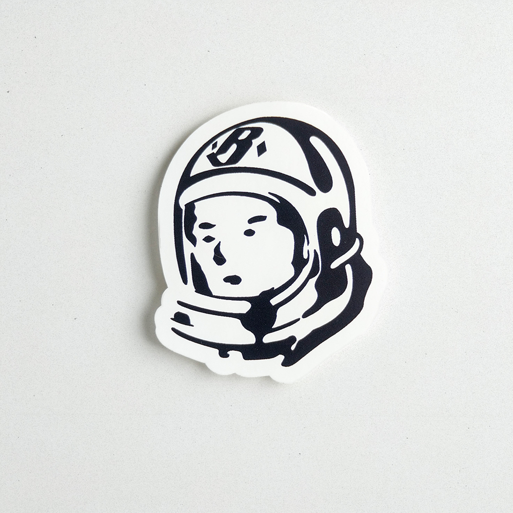Die cut vinyl decal of an astronaut's head inside a hemlet.