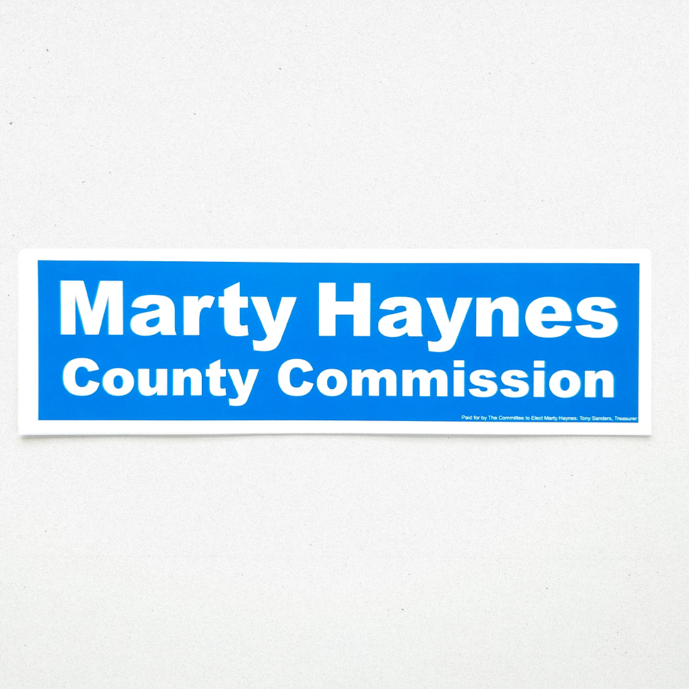 A custom vinyl decal for Marty Haynes political campaign.