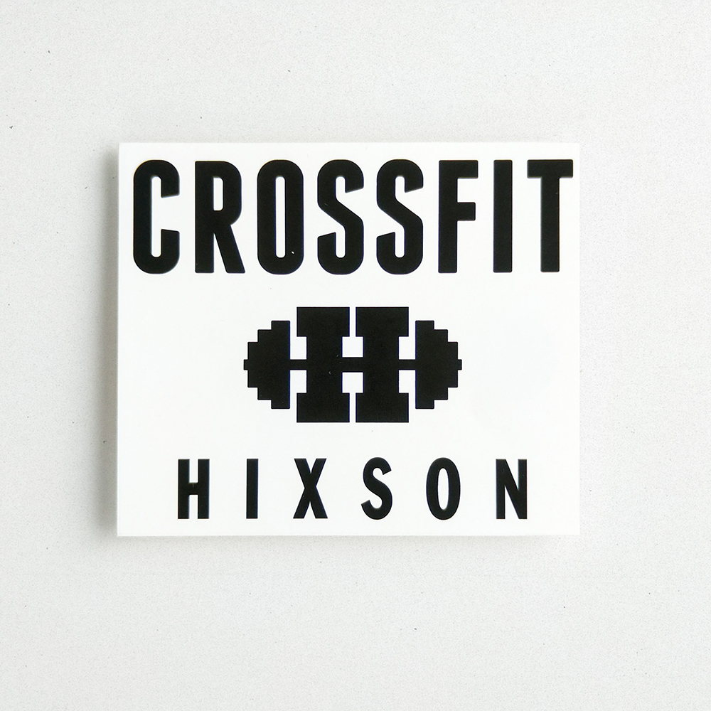 Product shot of a custom vinyl decal for a crossfit gym.