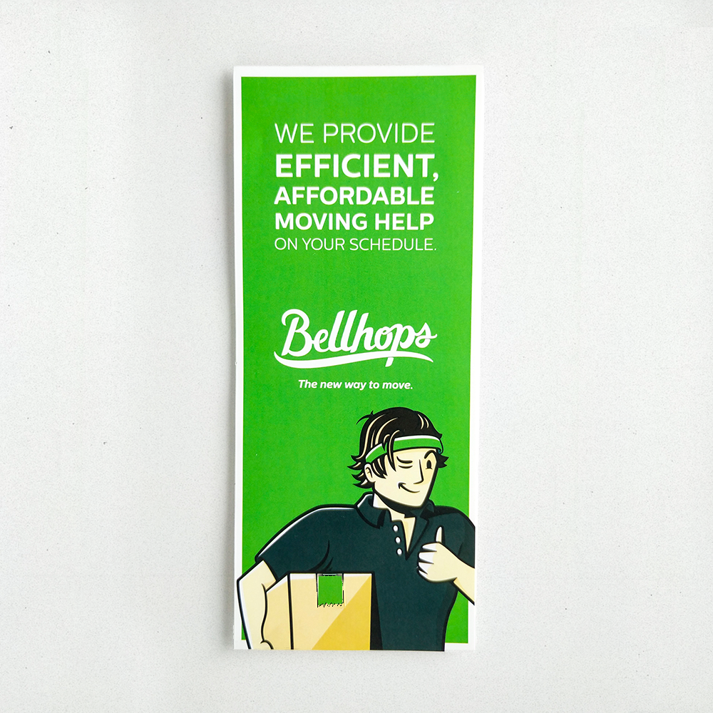 Custom vinyl decal for Bellhops. It's a tall, rectangular shape in the Bellhops vibrant green brand color.