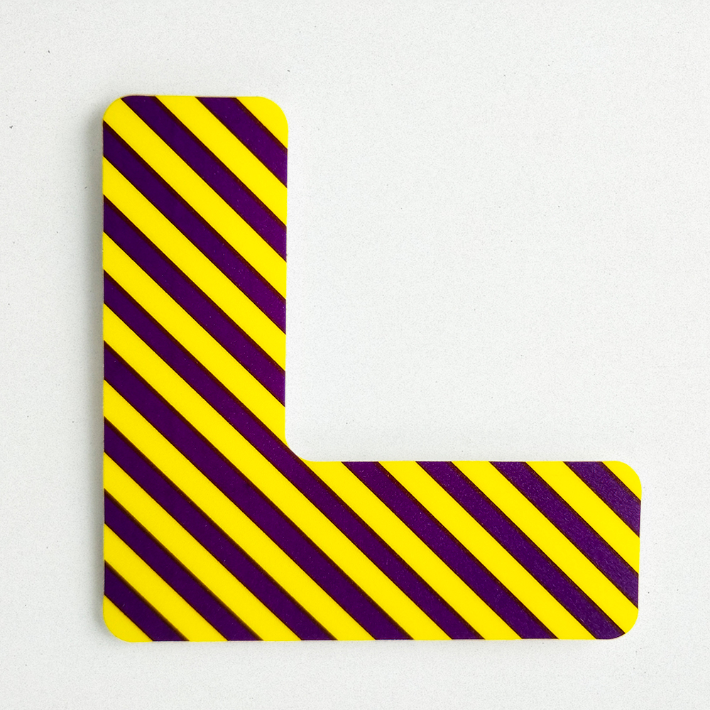 Die cut vinyl decal used for a floor corner marker.