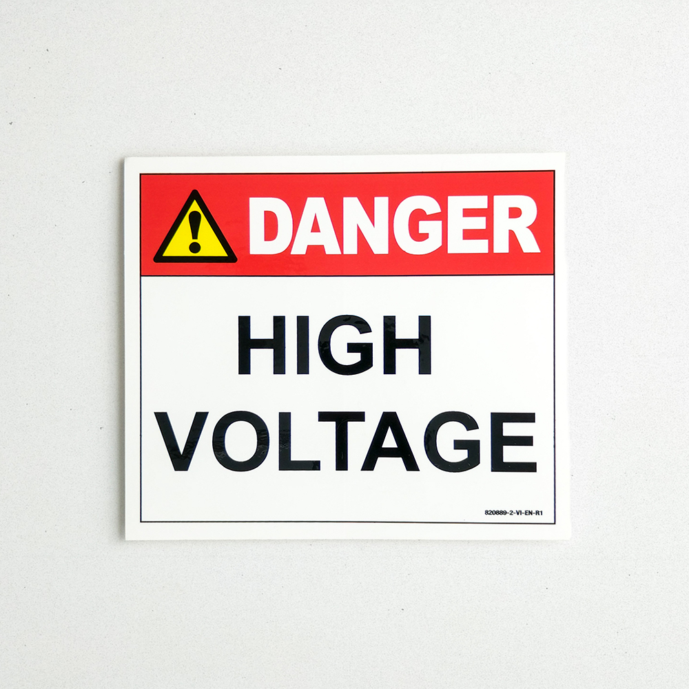 Product shot of a Danger Hight Voltage Vinyl Decal