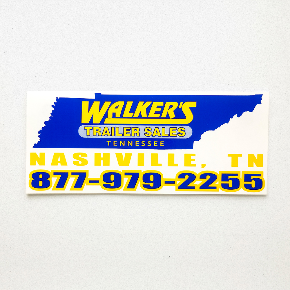 Product shot of a die cut vinyl decal for Walker's Trailer Services in the shape of Tennessee.