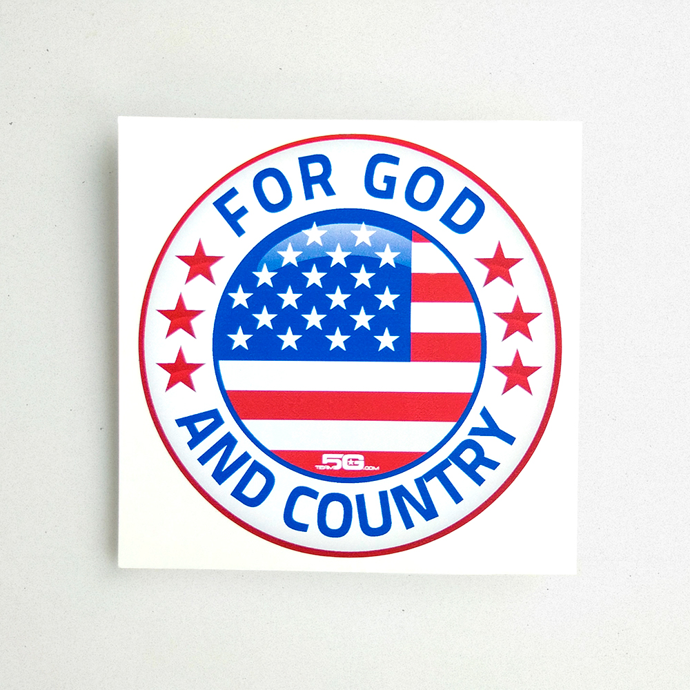 "Product shot of a round vinyl decal that reads ""For God and Country"". The American flag is encircled in the middle."