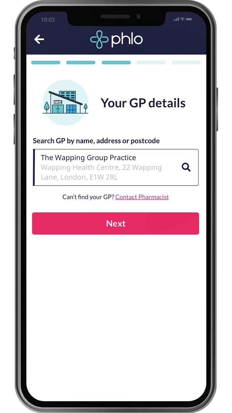 Nomimate your GP through the app by searching for the postcode or address