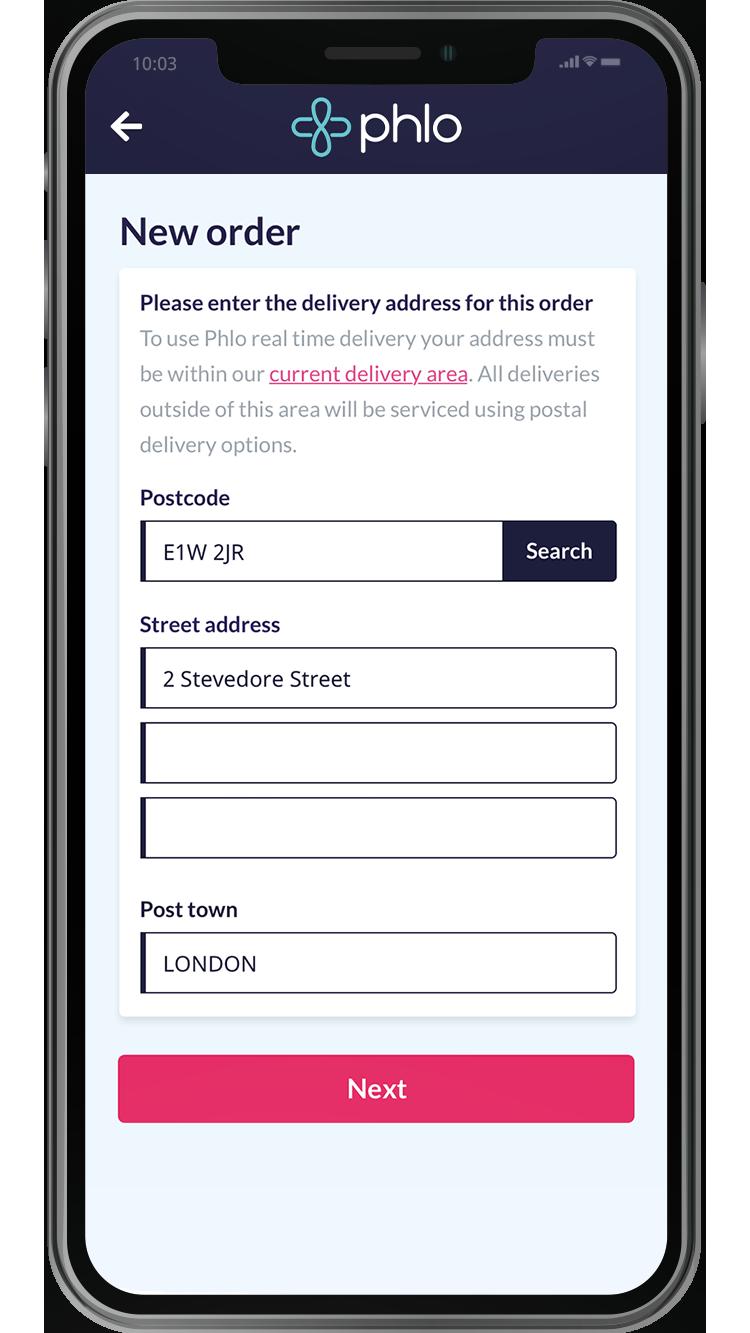 Creating a new order via the Phlo digital app and entering address information