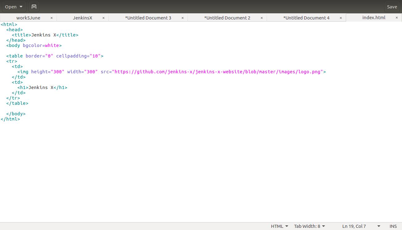 Jenkins X - HTML Page