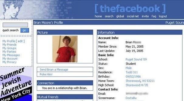Facebook Website in 90s