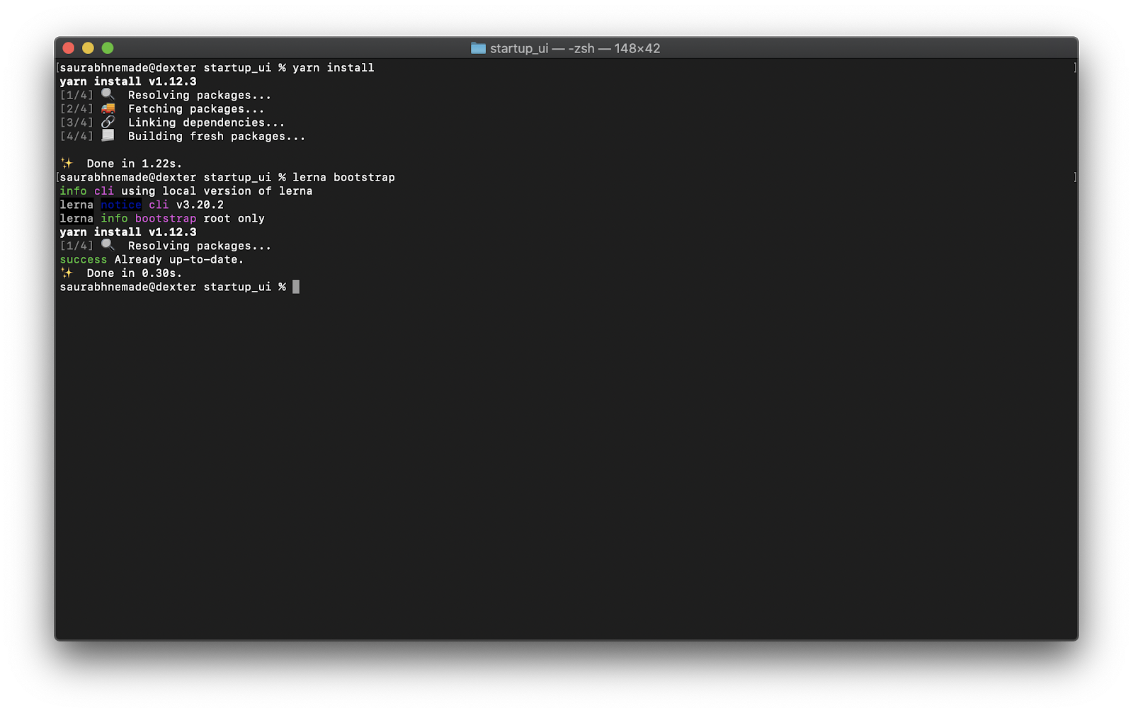 Reinstalling dependencies and bootstrapping output