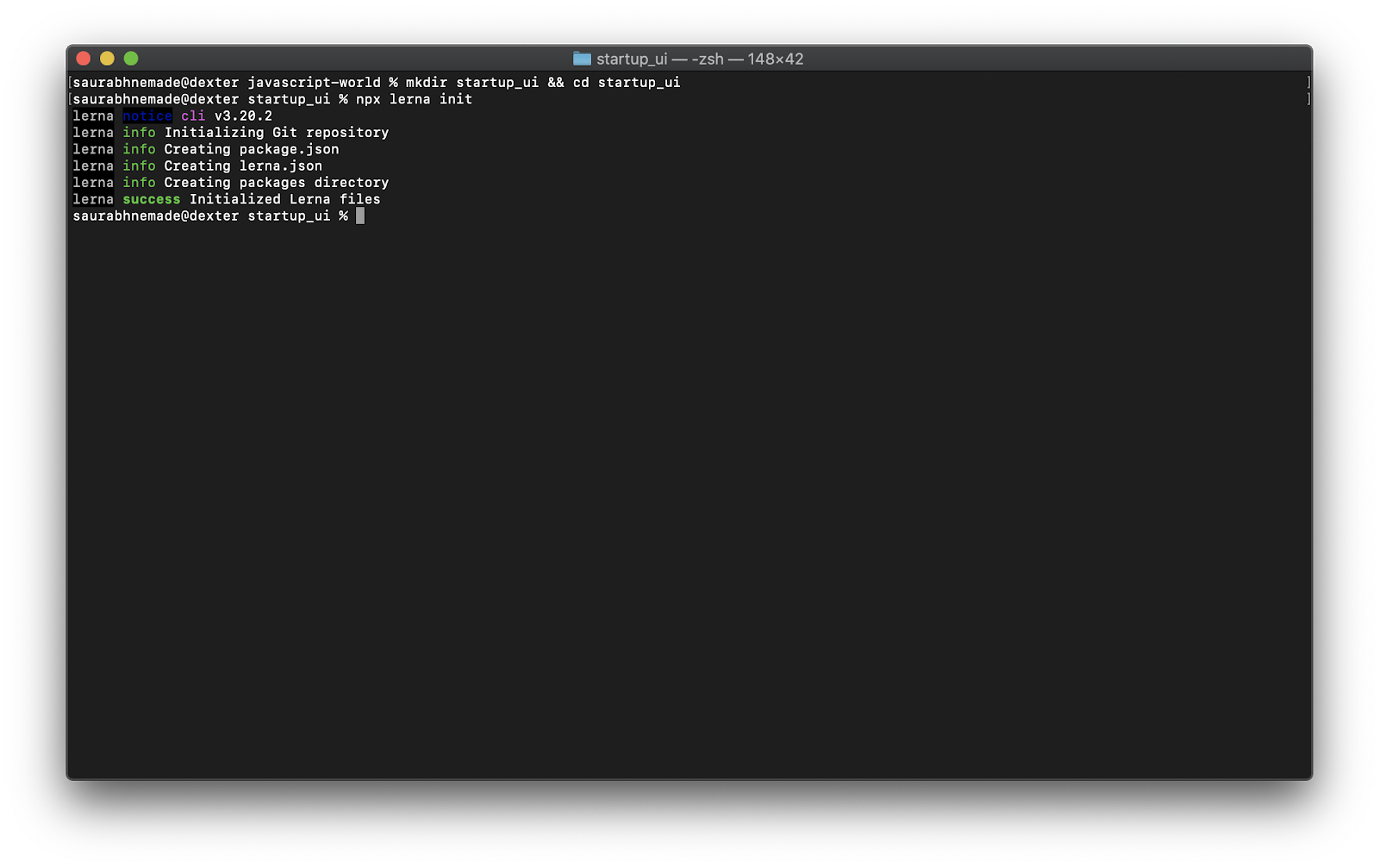 Lerna init output