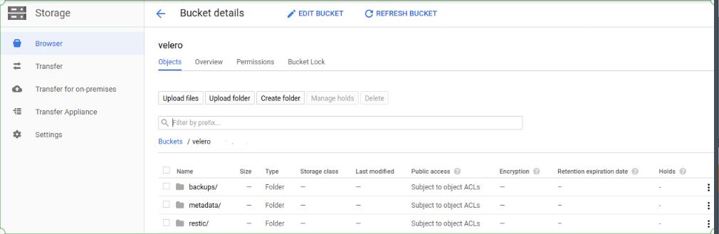 Velero GCP bucket