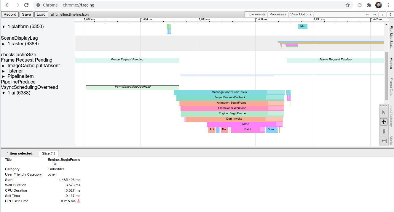 Chrome tracing in action