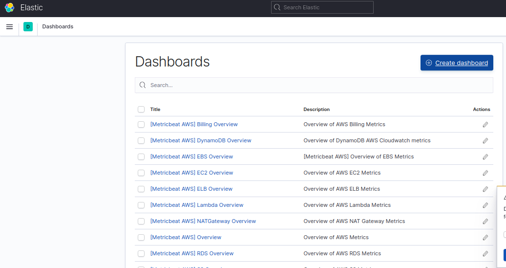 Available dashboards