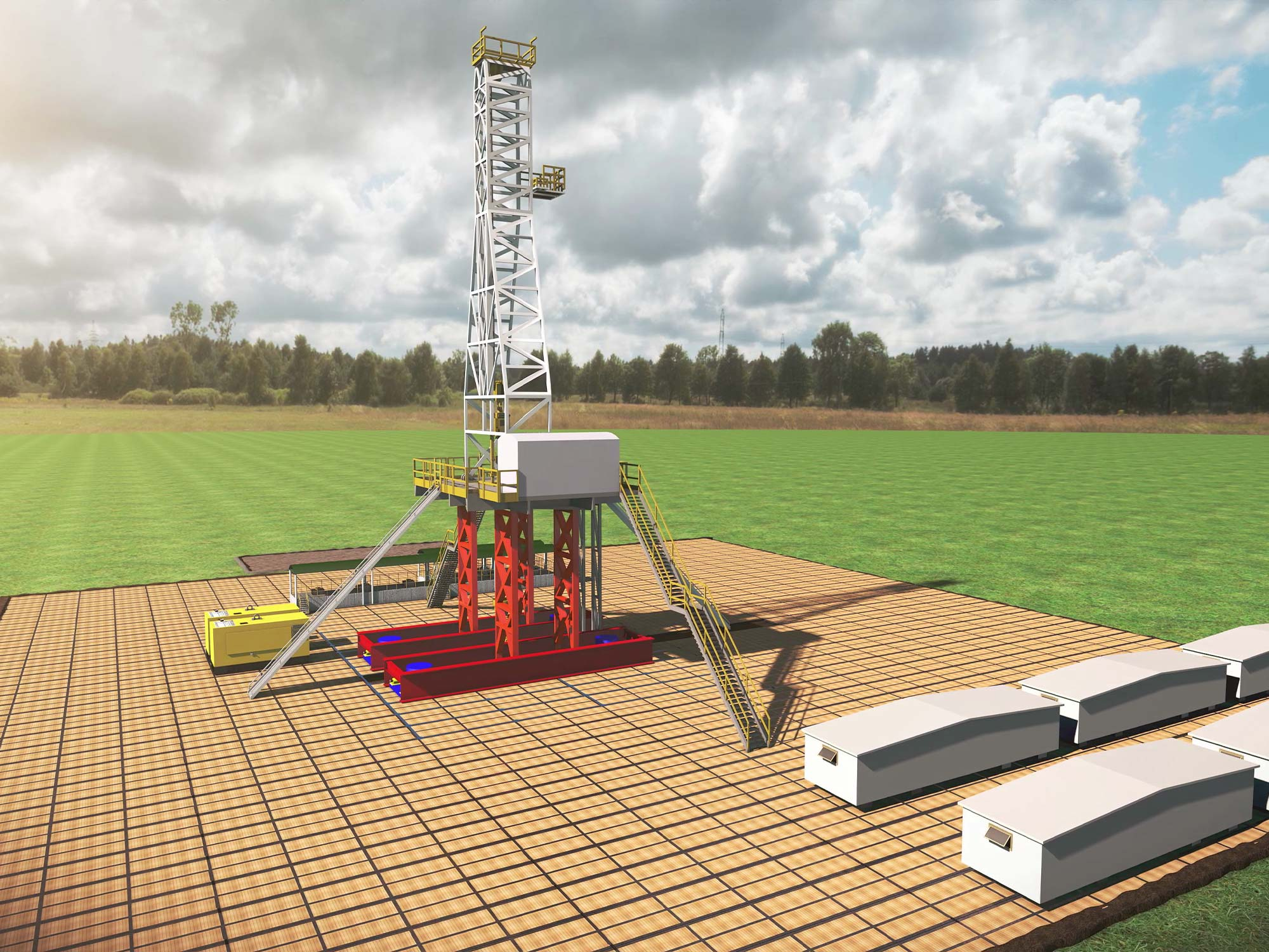Rendering of the TorcSill Onshore Platform supported by helical piles at a drill location