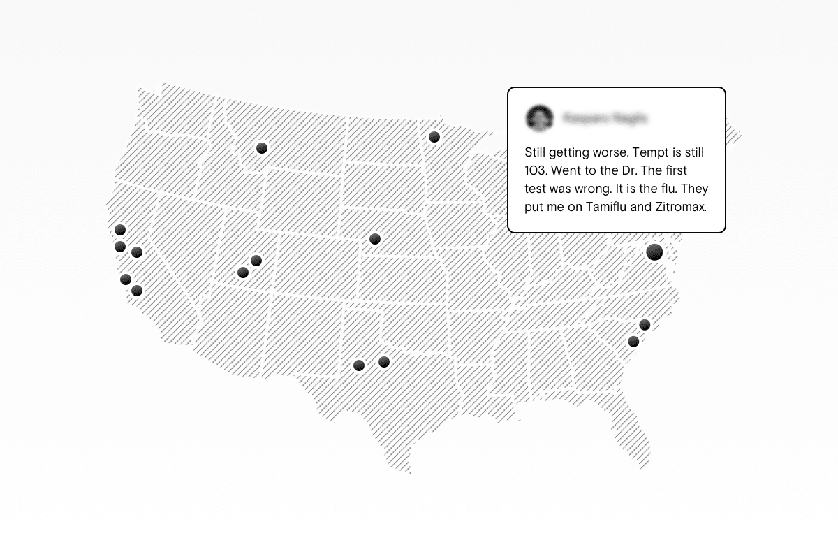 Mapping social media tweet on a map of the united states