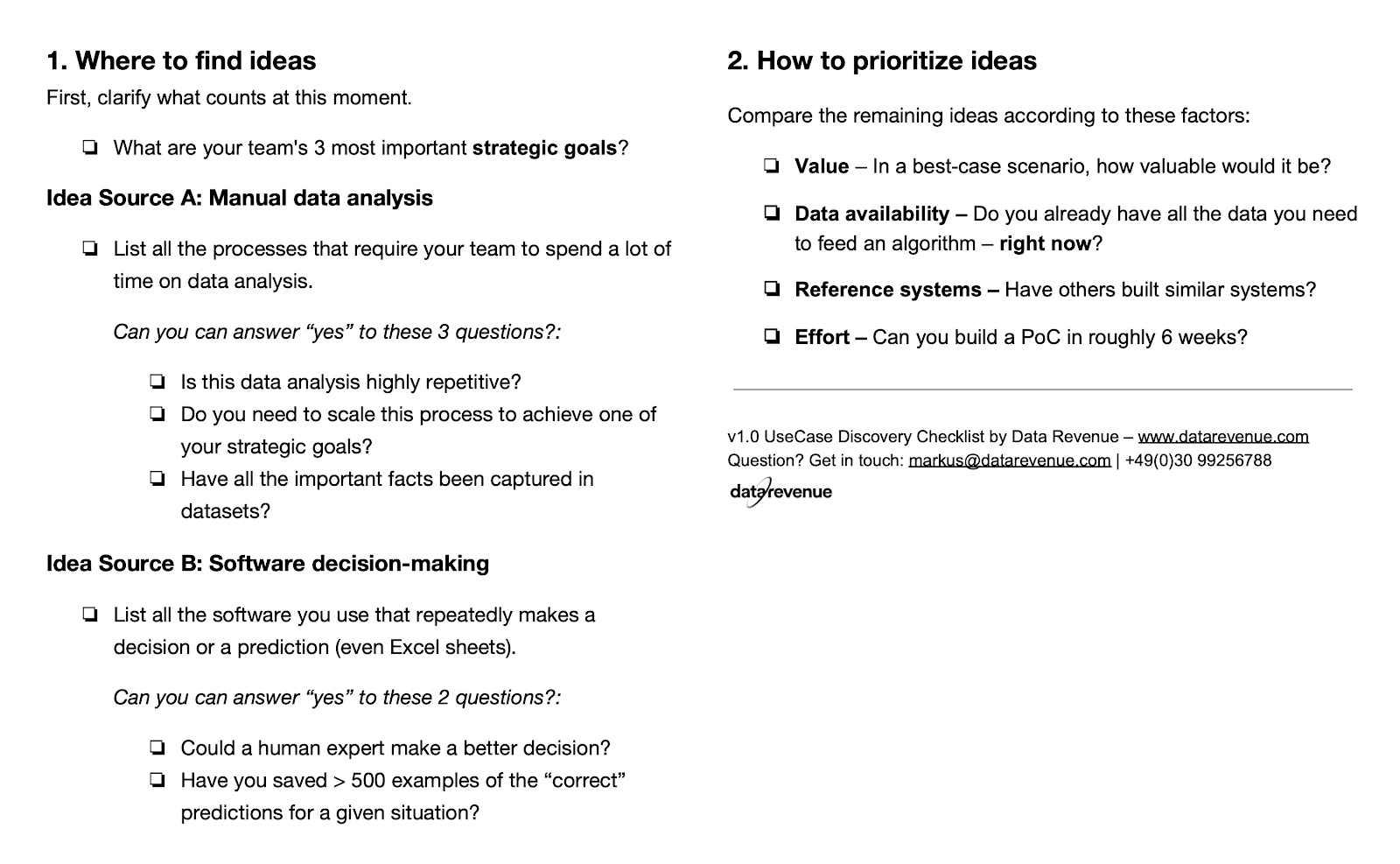 ML checklist