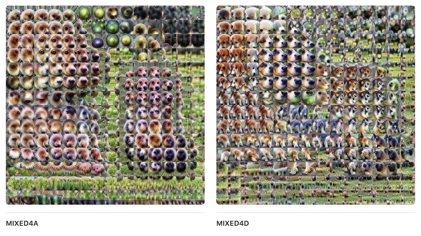Two images showing how a network chunks an image into parts of a dog, with many distinct features such as noses.