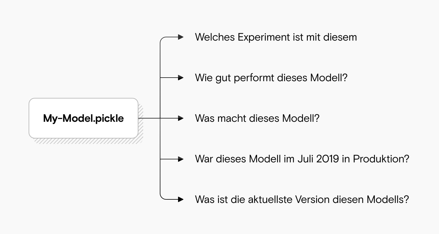 """Eine Abbildung zeigt eine Pickle-Datei mit unbeantworteten Fragen wie """"Was macht dieses Modell?"""" und """"Wie gut performt dieses Modell?"""""""