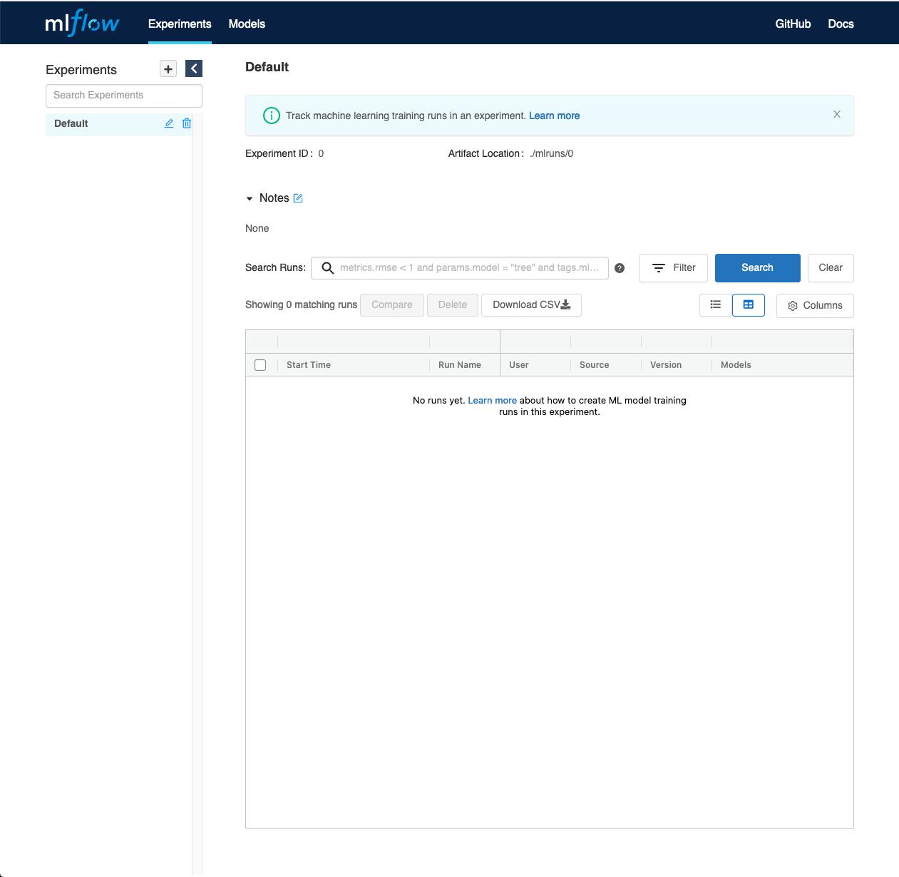 Ein Screenshot des MLFLow-Dashboards, der eine leere Tabelle mit Experimenten und Steuerelemente zum Filtern, Suchen oder Hinzufügen von Experimenten zeigt.